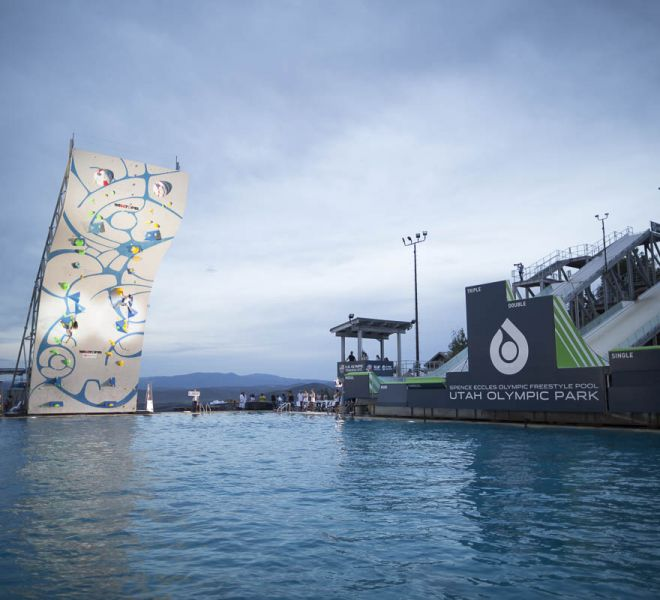 Psicocomp DWS Climbing wall by Walltopia, Deep Water Solo competition in Utah