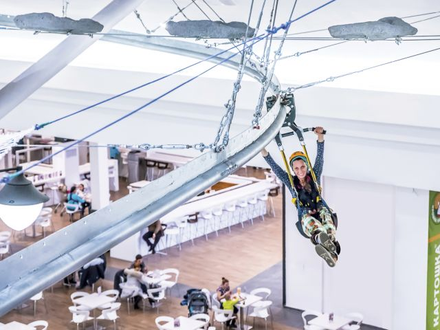 Rollglider aerial ride in Zelenopark mall, Moscow, Russia