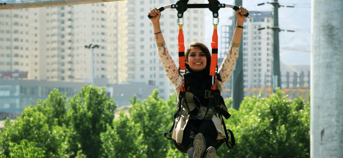Rollglider aerial attraction ride in Tehran